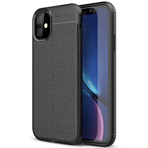 Black iPhone 11 Ultra Slim Carbon Fibre Leather Texture Case - 1