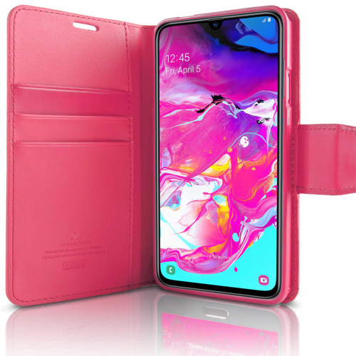Hot Pink Galaxy A70 Genuine Mercury Sonata Diary Wallet Card Case - 1