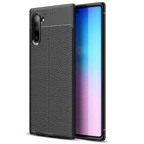 Black Galaxy Note 10 Ultra Slim Shock Absorption Leather Texture Case - 1