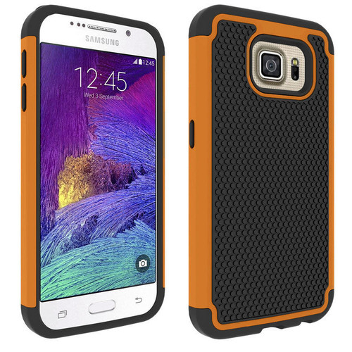 Orange 2 in 1 Rugged Heavy Duty Impact Case For Samsung Galaxy S6 Edge
