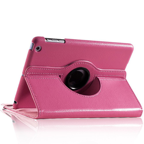 Hot Pink Stylish  Rotational Leather Stand Case Cover For Apple iPad Mini 3 - 1