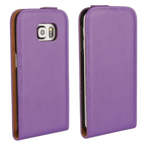Purple Samsung Galaxy S6 Premium Leather Vertical Flip Case
