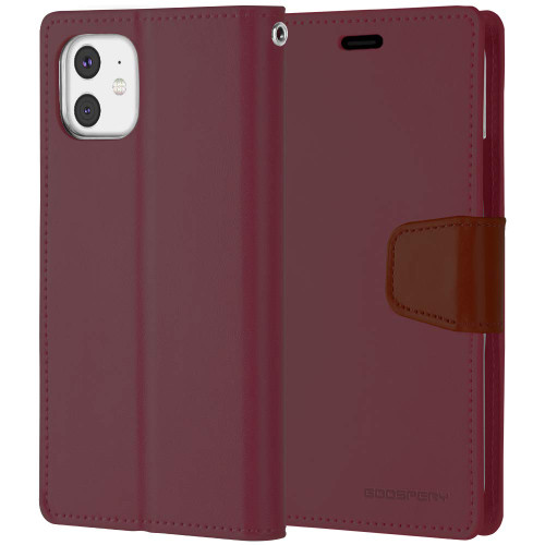 Classy Wine iPhone 11 Pro Genuine Mercury Sonata Diary Wallet Case - 1