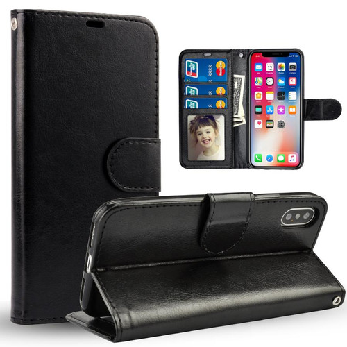 Apple iPhone XS Max Black Leather Photo Frame Wallet Card Slot Smart Case Cover