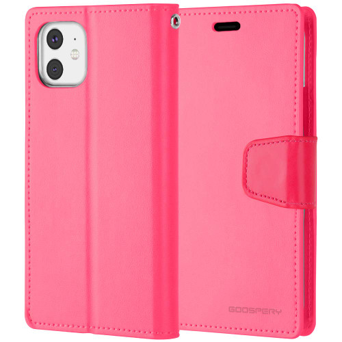 Stylish Hot Pink iPhone 11 Pro Mercury Sonata Diary Wallet Case - 1