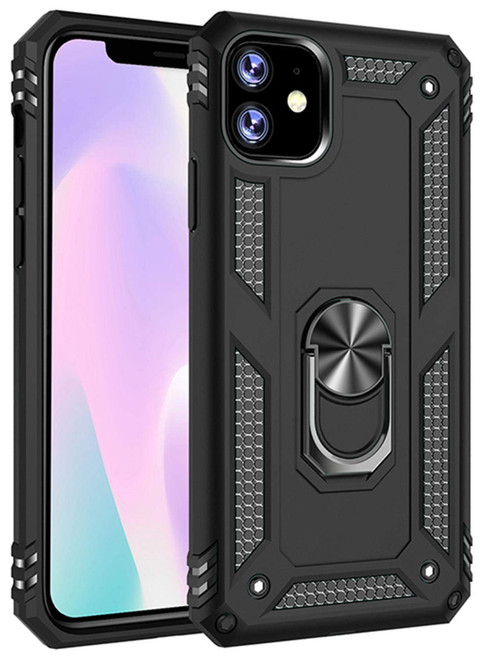 Black iPhone 11 Pro Shock Proof 360 Rotating Metal Circle Stand Case - 1