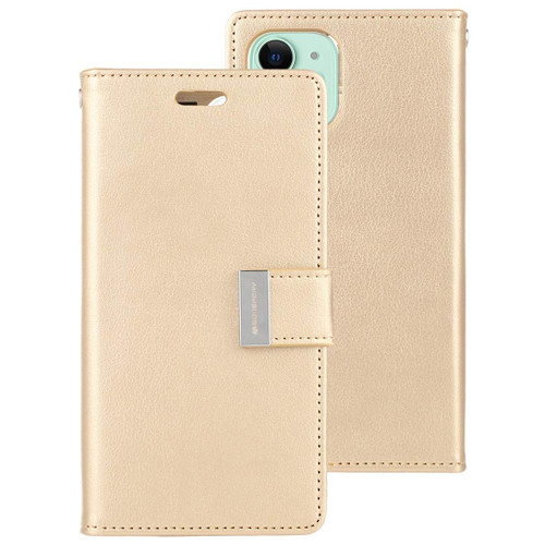 Gold iPhone 11 Genuine Mercury Rich Diary Wallet Card Slot Case - 1