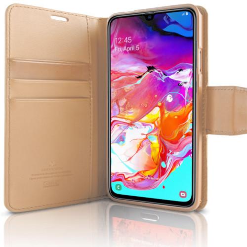Gold Galaxy A70 Genuine Mercury Sonata Diary Wallet Card Case - 1