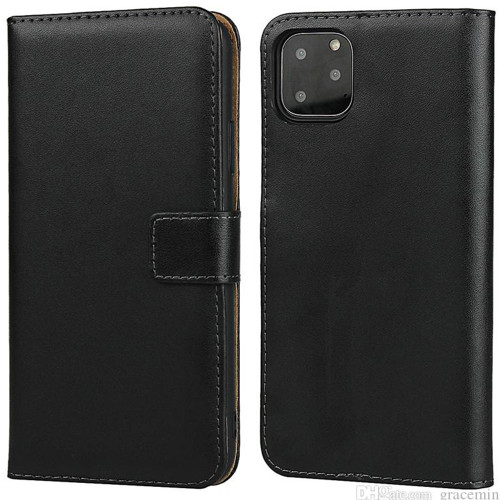 Black iPhone 11 Pro Genuine Leather Premium Business Wallet Case - 1