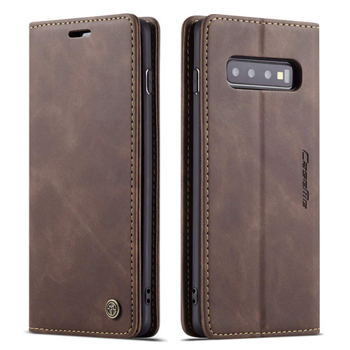 Business Galaxy S10 CaseMe Slim 2 Card Slot Wallet Case - Coffee - 1