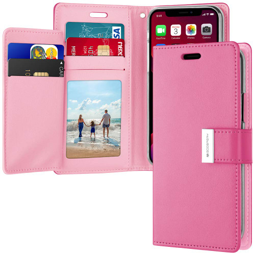 Stylish Hot Pink Genuine Mercury Rich Diary Wallet Case for iPhone 11 - 1