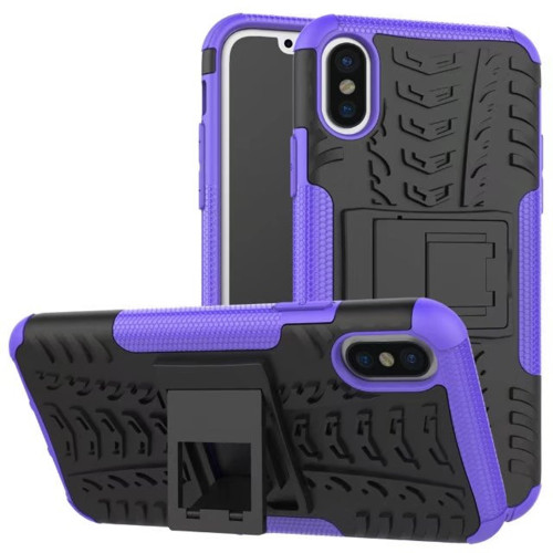 Purple Apple iPhone X Heavy Duty Hybrid Kickstand Defender Smart Case Cover - 1