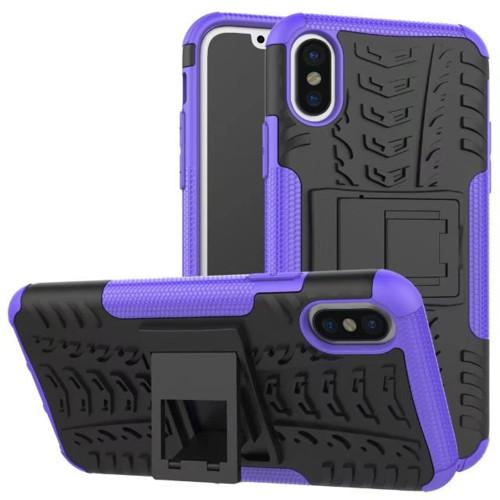 Purple Apple iPhone X Heavy Duty Hybrid Kickstand Defender Smart Case Cover - 1