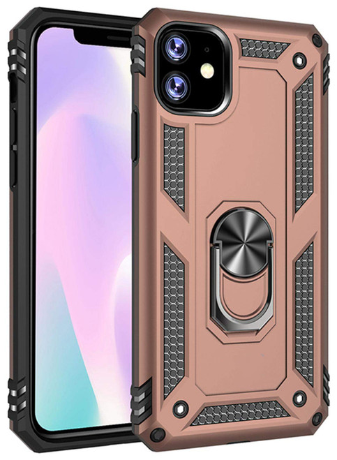 Rose Gold 360 Rotating Metal Ring Shock Proof Stand Case For iPhone 11 - 1