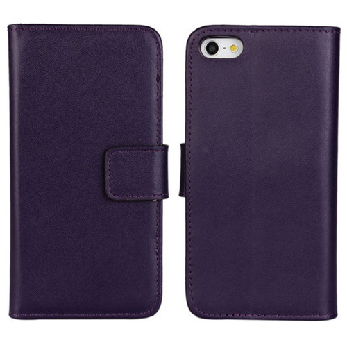 Purple Genuine Leather Wallet Case for Apple iPhone 5 5S Cover - 1