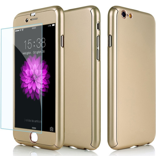 Gold Full 360 Cover Case + Tempered Glass Protector for iPhone 6 / 6S