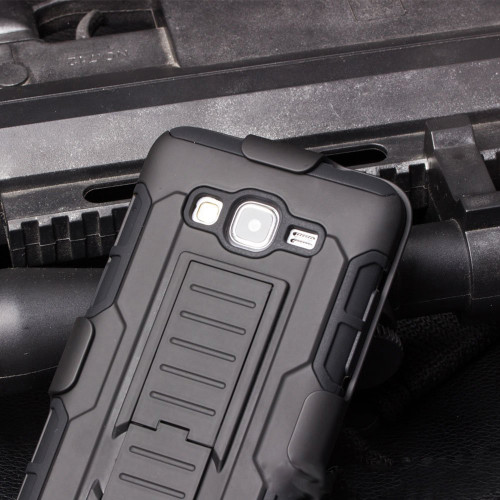 Galaxy J3 (2016) Military Heavy Duty Stand Case w/ Optional Holster - 1
