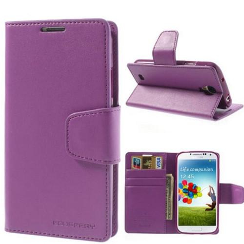 Purple Galaxy S4 Genuine Mercury Sonata Diary Wallet Case - 1