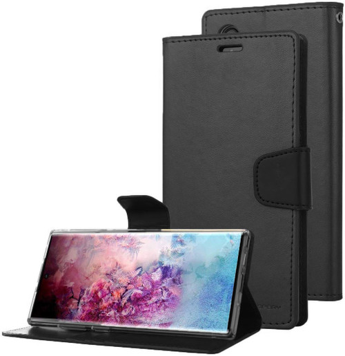Black Genuine Mercury Sonata Diary Wallet Case For Galaxy Note 10 - 1