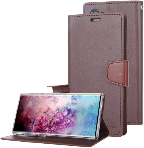 Mercury Sonata Diary Card Slots Wallet Case For Galaxy Note 10 - Brown - 1