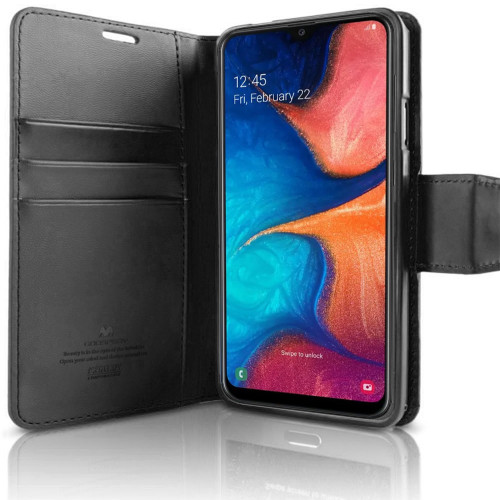 Black Galaxy A50 Genuine Mercury Sonata Diary Wallet Card Case - 1
