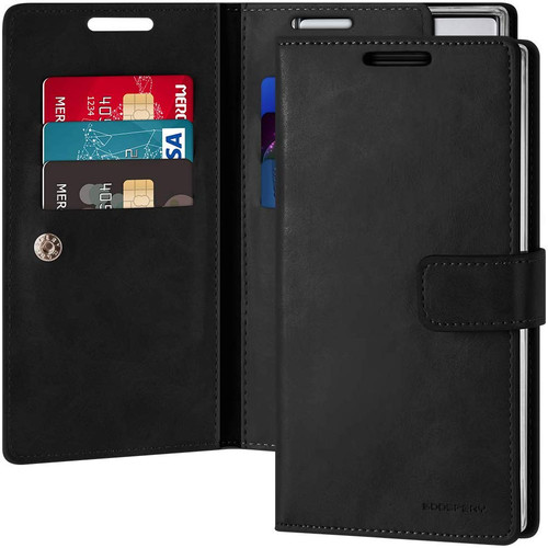 Classy Black Mercury Mansoor Diary Wallet Card Case For Galaxy Note 10 - 1