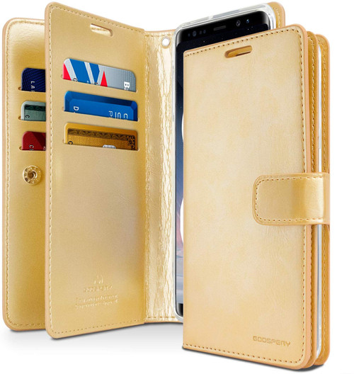 Stylish Gold Galaxy Note 10 Mercury Mansoor Diary Wallet Card Case - 1