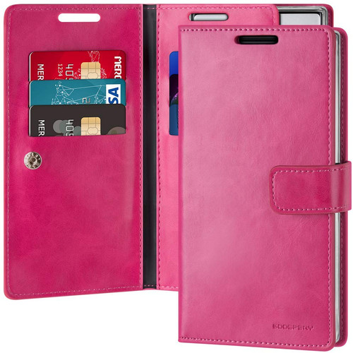 Hot Pink Galaxy Note 10 Mercury Mansoor Diary Wallet Card Case - 1