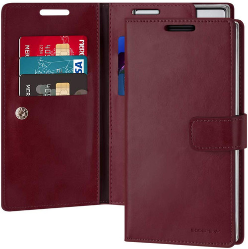 Red Wine Mercury Mansoor Diary Wallet Card Case for Galaxy Note 10 - 1