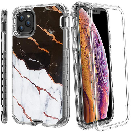 iPhone 11 Marble 3 in 1 Heavy Duty Armor Case Black White and Gold