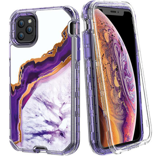 iPhone 11 Pro Luxury Purple Marble 3 in 1 Shock Proof Full Body Case - 1