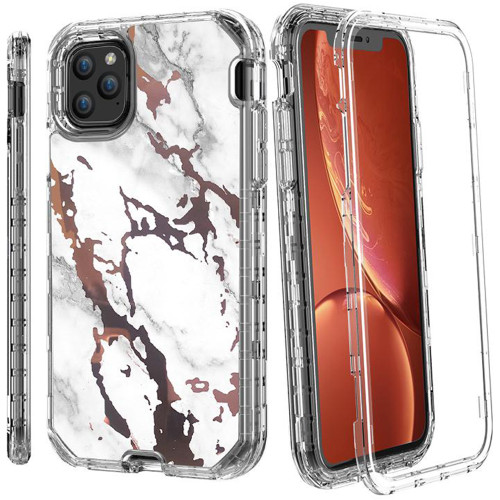 iPhone 11 Pro White / Gold Marble 3 in 1 Heavy Duty Shock Proof Case