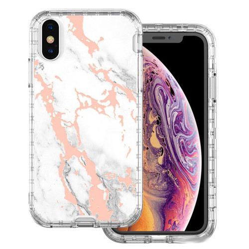 iPhone XR White / Gold Marble 3 in 1 Heavy Duty Shock Proof Case - 1