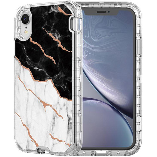 Black/White Marble Stone Shock Proof Defender Case For iPhone XR - 1