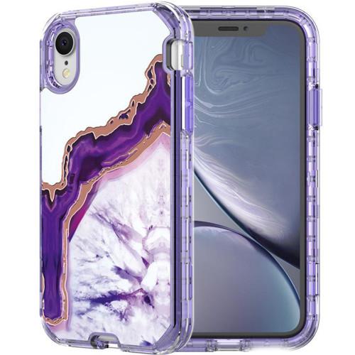 iPhone XR Luxury Purple Marble 3 in 1 Shock Proof Full Body Case - 1