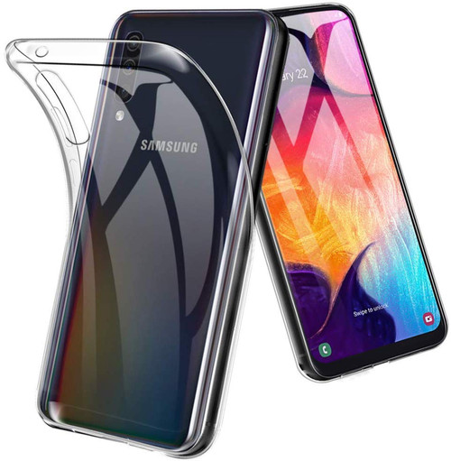 Clear Samsung Galaxy A50 Shock-Absorption Ultra Slim TPU Gel Case - 1