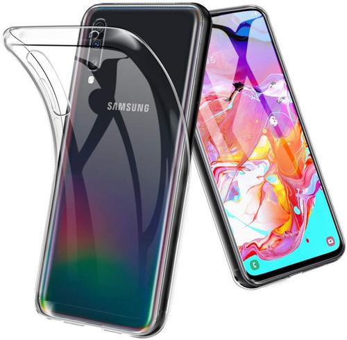 Clear Samsung Galaxy A70 Shock-Absorption Ultra Slim TPU Gel Case - 1
