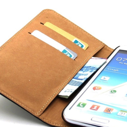 Black Genuine Leather Business Wallet Case for Samsung Galaxy Note 2 - 1