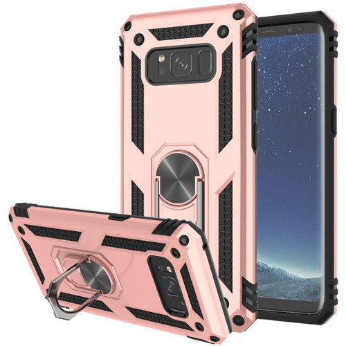 Rose Gold Samsung Galaxy S8 360 Degree Ring Slim Armor Stand Case - 1