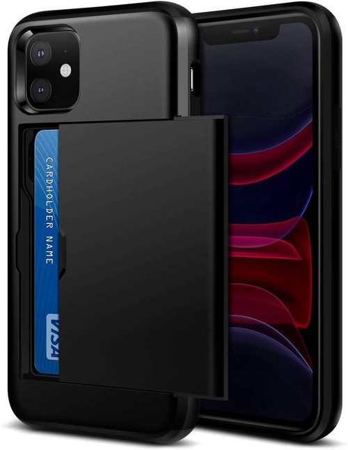 Black Shock Proof Slide Card Armor Case For Apple iPhone 11 - 1