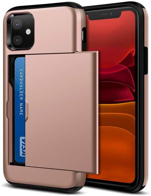 Rose Gold Apple iPhone 11 Shock Proof Slide Card Slim Armor Case - 1