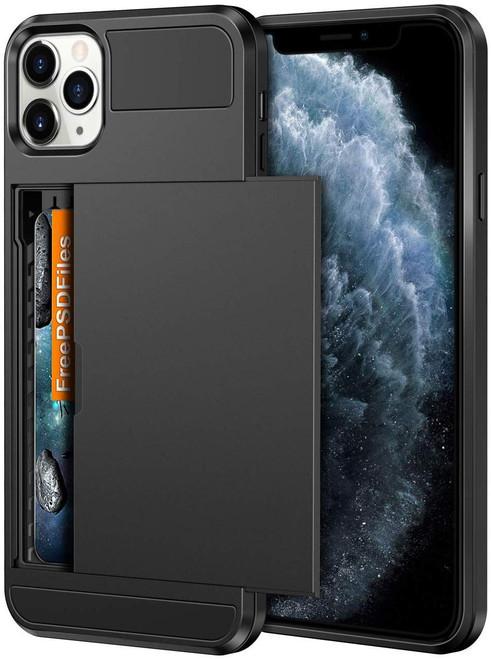 Black Shock Proof Slide Card Armor Case For Apple iPhone 11 Pro - 1