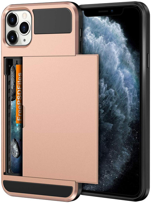 Rose Gold Shock Proof Slide Card Armor Case For Apple iPhone 11 Pro - 1