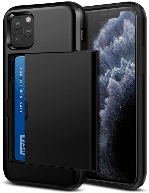 Black Shock Proof Slide Card Armor Case For Apple iPhone 11 Pro Max - 1