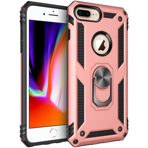 Rose Gold iPhone 8 Plus Shock Proof Case 360 Rotating Metal Ring Stand - 1