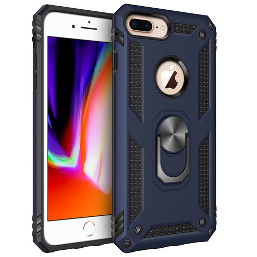 Navy 360 Rotating Metal Ring Shock Proof Stand Case for iPhone 8 Plus - 1
