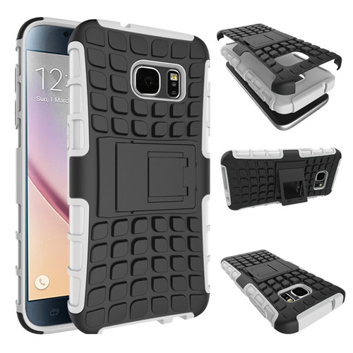 White Heavy Duty TPU Armor Kickstand Case Cover For Samsung Galaxy S7