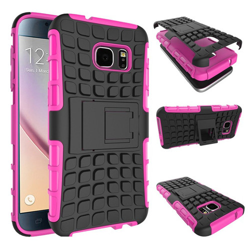 Hot Pink Samsung Galaxy S7 Heavy Duty TPU Armor Kickstand Case