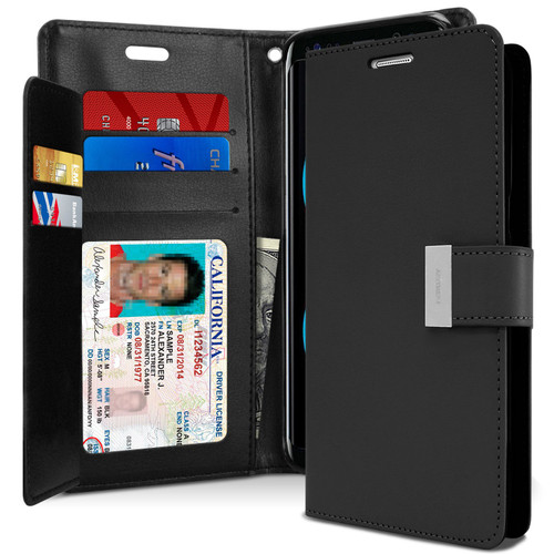 Black Galaxy A50 Genuine Mercury Rich Diary Card Slot Wallet Case - 1