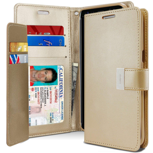 Shiny Gold Mercury Rich Diary Card Slot Wallet Case For Galaxy A50 - 1